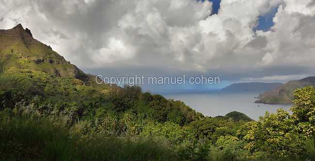 Mountainous forested landscape on the North coast of the island of Hiva Oa, in the Marquesas Islands, French Polynesia. Picture by Manuel Cohen