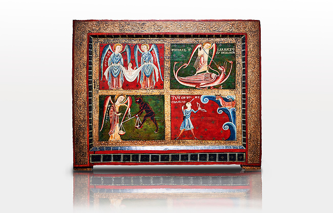 Altar of Archangels<br /> <br /> Second quarter of the thirteenth century<br /> Temple, stucco reliefs in metal on wood from the church of Catalonia, Spain.<br /> <br /> Acquisition of Museums Board's campaign in 1932. MNAC 3913<br /> <br /> Archangels were prominent in Romanesque iconography, acting as intermediaries between God and Man or as agents of divine will.  Three of the four compartments of the small altar front are dedicated to San Michael.  Top right shows Michael fighting a dragon, bottom left shows the psychostasia, where souls are weighed to determine whether they should go to heaven or hell on judgement day, bottom right shows a detail of the story of the miracle of Mont Gargano. Top left shows Grabriel and Rafael with the baby Jesus. The style of the painting is the similar to the mural decoration of St. Paul Casserres.
