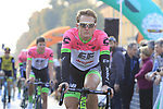EF-Drapac-Cannondale arrive at sign on before the start of the 112th edition of Il Lombardia 2018, the final monument of the season running 241km from Bergamo to Como, Lombardy, Italy. 13th October 2018.<br /> Picture: Eoin Clarke | Cyclefile<br /> <br /> <br /> All photos usage must carry mandatory copyright credit (© Cyclefile | Eoin Clarke)