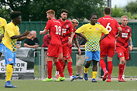 Conor Wilkinson of Leyton Orient is congratulated after scoring the second goal during Harlow Town vs Leyton Orient, Friendly Match Football at The Harlow Arena on 6th July 2019