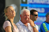 Rory McIlroy (NIR) girlfriend Caroline Wozniacki and his Dad Gerry on the 18th green on the final day of the DUBAI WORLD CHAMPIONSHIP presented by DP World, Jumeirah Golf Estates, Dubai, United Arab Emirates.Picture Fran Caffrey www.golffile.ie