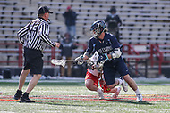 College Park, MD - March 18, 2017: Villanova Wildcats Jake Froccaro (54) wins the faceoff during game between Villanova and Maryland at  Capital One Field at Maryland Stadium in College Park, MD.  (Photo by Elliott Brown/Media Images International)