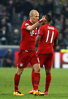 Calcio, andata degli ottavi di finale di Champions League: Juventus vs Bayern Monaco. Torino, Juventus Stadium, 23 febbraio 2016. <br /> Bayern&rsquo;s Arjen Robben celebrates after scoring during the Champions League first leg round of 16 football match between Juventus and Bayern at Turin's Juventus Stadium, 23 February 2016.<br /> UPDATE IMAGES PRESS/Isabella Bonotto