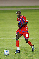 Crystal Palace midfielder Matthew Mbuta (12). The New England Revolution (MLS) defeated Crystal Palace FC USA of Baltimore (USL2) 5-3 in penalty kicks after finishing regulation and overtime tied at 1-1 during a Lamar Hunt US Open Cup quarterfinal match at Veterans Stadium in New Britain, CT, on July 8, 2008.