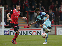 Sido Jombati of Wycombe Wanderers on the attack against Morecambe  during the Sky Bet League 2 match between Morecambe and Wycombe Wanderers at the Globe Arena, Morecambe, England on 29 April 2017. Photo by Stephen Gaunt / PRiME Media Images.