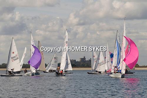 Datchet Water Sailing Club, Queen Mother reservoir, Berkshire, England 2007. Windsor Castle in background.