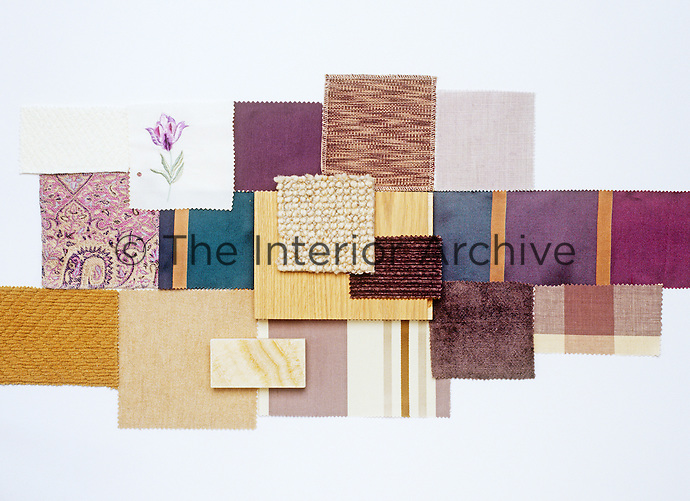 A collection of fabric swatches illustrating the colour range from topaz to terracotta