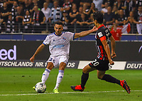 Adrien Thomasson (Racing Club de Strasbourg Alsace) gegen Makoto Hasebe (Eintracht Frankfurt) - 29.08.2019: Eintracht Frankfurt vs. Racing Straßburg, UEFA Europa League, Qualifikation, Commerzbank Arena<br /> DISCLAIMER: DFL regulations prohibit any use of photographs as image sequences and/or quasi-video.