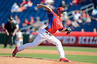 Philadelphia Phillies pitcher Jonathan Pettibone #68 during a Spring Training game against the Dominican Republic at Bright House Field on March 5, 2013 in Clearwater, Florida.  The Dominican defeated Philadelphia 15-2.  (Mike Janes/Four Seam Images)