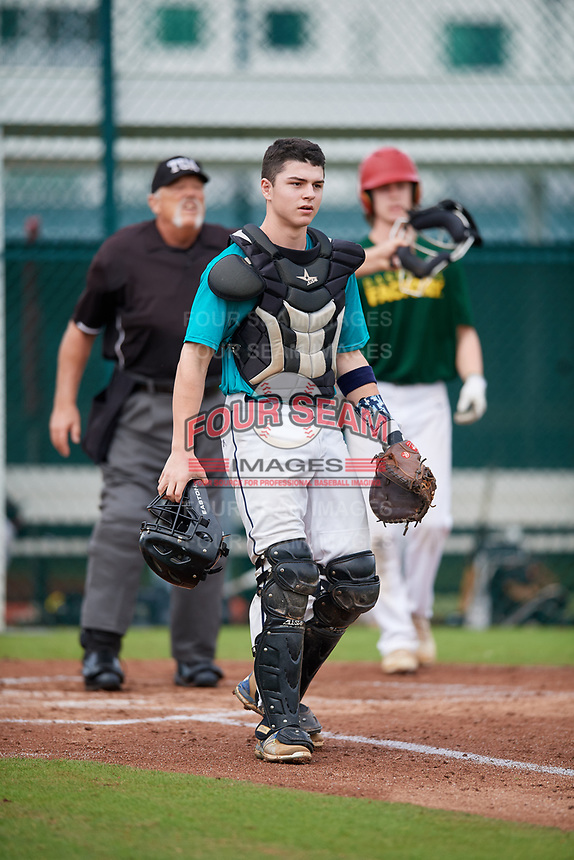John Cariddi (65) of Stockton, New Jersey during the Baseball Factory Pirate City Christmas Camp & Tournament on December 29, 2018 at Pirate City in Bradenton, Florida. (Mike Janes/Four Seam Images)