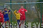 Shane Lowney of Iveragh get up high to defend a St Bernards corner.