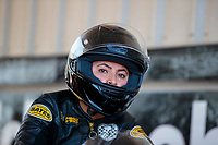 Sep 27, 2019; Madison, IL, USA; NHRA pro stock motorcycle rider Jianna Salinas during qualifying for the Midwest Nationals at World Wide Technology Raceway. Mandatory Credit: Mark J. Rebilas-USA TODAY Sports