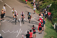Polka Dot Jersey / KOM leader Julian Alaphilippe (FRA/Quick-Step Floors) & Michal Kwiatkowski (POL/SKY) together up the last climb of the 2018 Tour: the Col d'Aubisque (HC/1709m/16.6km@4.9%)<br /> <br /> Stage 19: Lourdes > Laruns (200km)<br /> <br /> 105th Tour de France 2018<br /> ©kramon