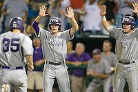 TCU's Jason Coats celebrates at home plate in Game 6 of the NCAA Division One Men's College World Series on Monday June 21st, 2010 at Johnny Rosenblatt Stadium in Omaha, Nebraska.  (Photo by Andrew Woolley / Four Seam Images)