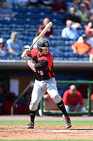 Tampa Spartans third baseman Nick Flair (18) at bat during an exhibition game against the Philadelphia Phillies on March 1, 2015 at Bright House Field in Clearwater, Florida.  Tampa defeated Philadelphia 6-2.  (Mike Janes/Four Seam Images)