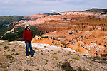 Woman at Cedar Breaks National Monument, Utah, UT, view, vista from Point Supreme, nature, landscape, erosion, arid, model released, Image ut310-17456, Photo copyright: Lee Foster, www.fostertravel.com, lee@fostertravel.com, 510-549-2202