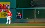 19 September 2015: Washington Nationals outfielder Bryce Harper stands in the outfield during a game against the Miami Marlins at Nationals Park in Washington, DC. The Nationals defeated the Marlins 5-2 in the third game of their 4-game series. Mandatory Credit: Ed Wolfstein Photo *** RAW (NEF) Image File Available ***