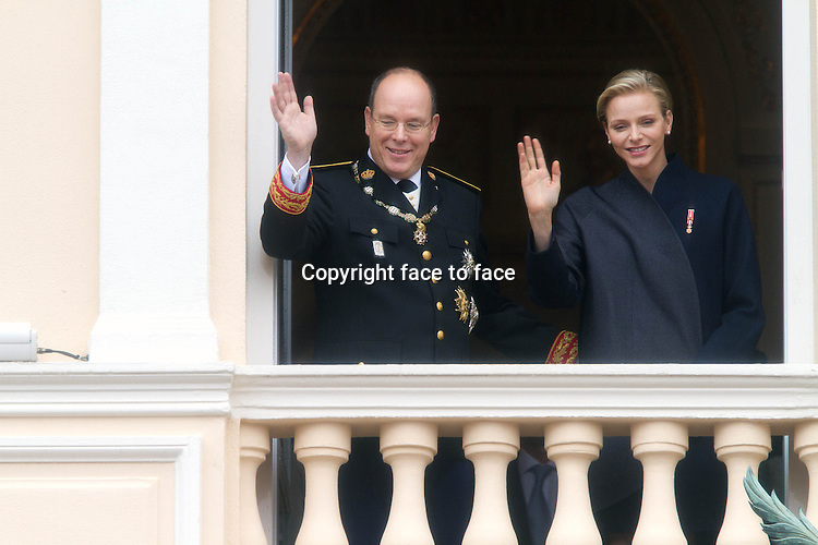 19-11-2013 Monte Carlo Prince Albert II of Monaco and Princess Charlene of Monaco during the celebrations marking the National Day in Monaco.<br />