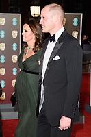 Prince William, Duke of Cambridge & Catherine, Duchess of Cambridge arriving for the BAFTA Film Awards 2018 at the Royal Albert Hall, London, UK. <br /> 18 February  2018<br /> Picture: Steve Vas/Featureflash/SilverHub 0208 004 5359 sales@silverhubmedia.com