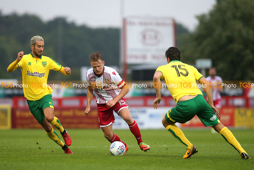 Alex Samuel of Stevenage tries to burst through the Norwich City defence during Stevenage vs Norwich City, Friendly Match Football at the Lamex Stadium on 11th July 2017