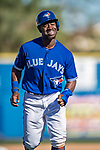 6 March 2019: Toronto Blue Jays outfielder Jonathan Davis returns to the dugout after an out in the 7th inning of a Spring Training game against the Philadelphia Phillies at Dunedin Stadium in Dunedin, Florida. The Blue Jays defeated the Phillies 9-7 in Grapefruit League play. Mandatory Credit: Ed Wolfstein Photo *** RAW (NEF) Image File Available ***