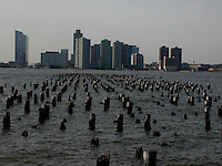 Wooden pier pilings. Images of New York 2004, New York,U.S.A