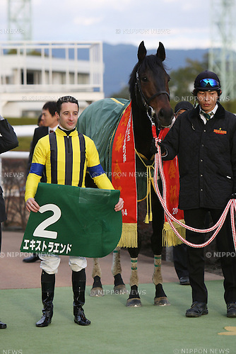 Extra End ( Christophe Lemaire),<br /> JANUARY 5, 2014 - Horse Racing :<br /> Jockey Christophe Lemaire pose with Extra End after winning the Sports Nippon Sho Kyoto Kimpai at Kyoto Racecourse in Kyoto, Japan. (Photo by Eiichi Yamane/AFLO)