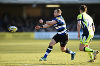 Jack Wilson of Bath Rugby passes the ball. Aviva Premiership match, between Bath Rugby and Sale Sharks on February 24, 2018 at the Recreation Ground in Bath, England. Photo by: Patrick Khachfe / Onside Images