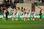 Rayo Vallecano´s players thank the supporters during 2014-15 La Liga match between Rayo Vallecano and Malaga CF at Rayo Vallecano stadium in Madrid, Spain. March 21, 2015. (ALTERPHOTOS/Luis Fernandez)