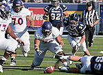 September 15, 2012: Northwestern State Demons #72 Larry Calcote jumps on a fumble against the Nevada Wolf Pack during their NCAA football game played at Mackay Stadium on Saturday afternoon in Reno, Nevada.