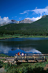 couple, bridge, summer, morning, Lily Lake, Longs Peak, Rocky Mountain National Park, Colorado, USA
