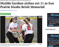 Sun Prairie players congratulate Maddie Gardner (left) on a strikeout, as Sun Prairie tops Beloit Memorial 10-0 in five innings in Wisconsin Big Eight Conference softball on 5/8/18 at Sun Prairie High School | Wisconsin State Journal article in Sports 5/9/18 and online at http://host.madison.com/wsj/sports/high-school/softball/maddie-gardner-strikes-out-as-sun-prairie-blanks-beloit-memorial/article_33e6d452-1350-5575-abd6-eb93ba9b0181.html