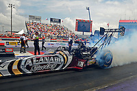 Apr. 29, 2012; Baytown, TX, USA: NHRA top fuel dragster driver Shawn Langdon during the Spring Nationals at Royal Purple Raceway. Mandatory Credit: Mark J. Rebilas-