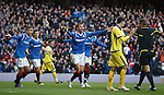 Marvan Celik and Lee McCulloch appeal to ref Iain Brines after McCulloch's header was ruled out for a goal