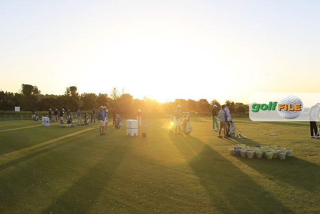 Sunrise over the driving range during Round 2 of the Open de Espana  in Club de Golf el Prat, Barcelona on Friday 15th May 2015.<br /> Picture:  Thos Caffrey / www.golffile.ie