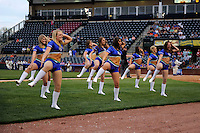 Lexington Legends dance team on the field performing during a game against the Greenville Drive on April 18, 2013 at Whitaker Bank Ballpark in Lexington, Kentucky.  Lexington defeated Greenville 12-3.  (Mike Janes/Four Seam Images)