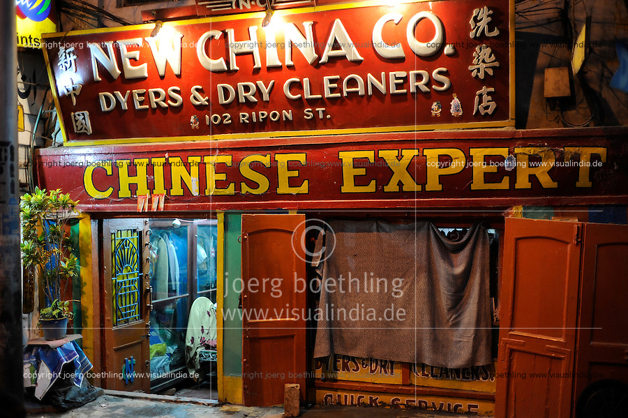 "Asien Indien IND Kolkata chinesische Waescherei in der Ripon Street. | .South Asia India Calcutta chinese laundry in  Ripon Street .| [ copyright (c) Joerg Boethling / agenda , Veroeffentlichung nur gegen Honorar und Belegexemplar an / publication only with royalties and copy to:  agenda PG   Rothestr. 66   Germany D-22765 Hamburg   ph. ++49 40 391 907 14   e-mail: boethling@agenda-fototext.de   www.agenda-fototext.de   Bank: Hamburger Sparkasse  BLZ 200 505 50  Kto. 1281 120 178   IBAN: DE96 2005 0550 1281 1201 78   BIC: ""HASPDEHH"" ,  WEITERE MOTIVE ZU DIESEM THEMA SIND VORHANDEN!! MORE PICTURES ON THIS SUBJECT AVAILABLE!! INDIA PHOTO ARCHIVE: http://www.visualindia.net ] [#0,26,121#]"