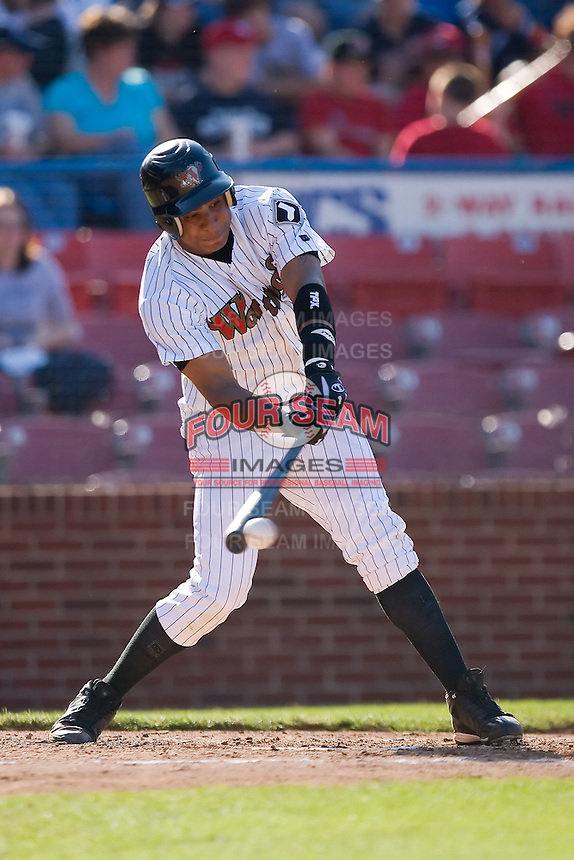 Anderson Gomez (26) of the Winston-Salem Warthogs makes contact versus the Kinston Indians at Ernie Shore Field in Winston-Salem, NC, Saturday, May 17, 2008.