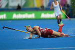 ENG - London, England, August 30: During the women Gold Medal Match between England (red) and The Netherlands (white) on August 30, 2015 at Lee Valley Hockey and Tennis Centre, Queen Elizabeth Olympic Park in London, England. Final score 2-2 (3-1 SO). (Photo by Dirk Markgraf / www.265-images.com) *** Local caption *** Lily OWSLEY #26 of England