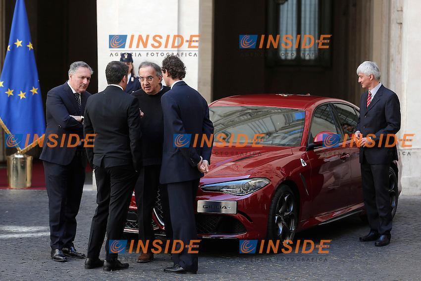 Matteo Renzi, Sergio Marchionne e John Elkann <br /> Roma 05-05-2016 Palazzo Chigi. Presentazione della Nuova Alfa Romeo Giulia.<br /> Rome 16th May 2016. Presentation of the new Giulia by Alfa Romeo.<br /> Photo Samantha Zucchi Insidefoto