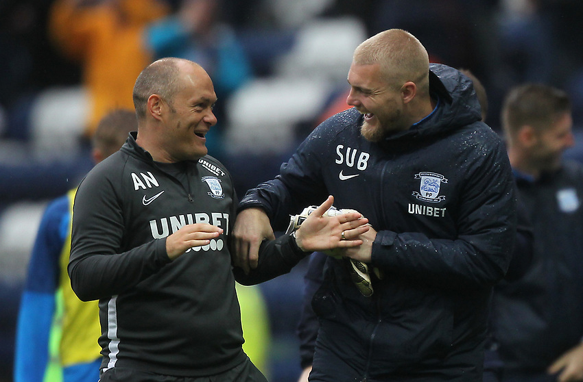 Preston North End's Manager Alex Neil jokes with Preston North End's Connor Ripley<br /> <br /> Photographer Mick Walker/CameraSport<br /> <br /> The EFL Sky Bet Championship - Preston North End v Wigan Athletic - Saturday 10th August 2019 - Deepdale Stadium - Preston<br /> <br /> World Copyright © 2019 CameraSport. All rights reserved. 43 Linden Ave. Countesthorpe. Leicester. England. LE8 5PG - Tel: +44 (0) 116 277 4147 - admin@camerasport.com - www.camerasport.com