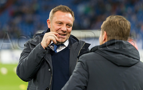 25.02.2016. Gelsenkirchen, Germany.  Schalke's coach Andre Breitenreiter and sports chairman Horst Heldt at the Europa League Round of 32 Second Leg soccer match between Schalke 04 and FC Shakhtar Donetsk in the Veltins Arena in Gelsenkirchen, Germany, 25 February 2016.