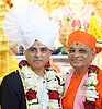 Sadiq Khan meets Global spiritual leader Acharya Swamishree Maharaj at Shree Swaminarayan Mandir Kingsbury, London, Great Britain <br /> 28th August 2016<br /> <br /> <br /> Mayor of London Sadiq Khan meets Acharya Swamishree Maharaj who presented him with a Paag, a special turban reserved for leaders of the community, and a garland of flowers. <br />  <br /> <br /> Photograph by Elliott Franks <br /> Image licensed to Elliott Franks Photography Services