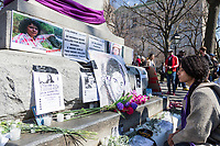NEW YORK, NEW YORK - MARCH 8: A woman looks at the photos of women killed in parts of the world. during the women's strike in Washington Sq Park for Women's Day on March 8, 2020. in New York. 3,500 women were killed for gender reasons in 25 countries in Latin America and the Caribbean in 2019. UN said. (Photo by Pablo Monsalve / VIEWpress via Getty Images)