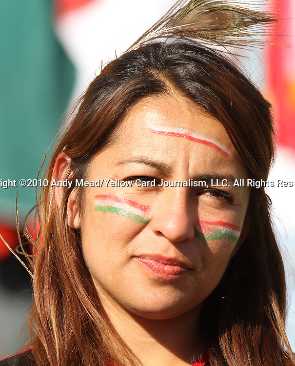 22 JUN 2010: A Mexico fan, pregame. The Mexico National Team played the Uruguay National Team at Royal Bafokeng Stadium in Rustenburg, South Africa in a 2010 FIFA World Cup Group A match.