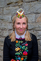 Estonia, Muhu Island. Muhu Jaanalind, guest house and farm. Traditional dancers.