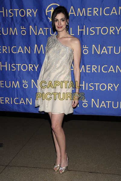 ANNE HATHAWAY.Roberto Cavalli sponsors the American Museum of Natural History's annual Winter Dance held at the museum, New York, New York, USA..March 11th, 2008.full length white cream silver one shoulder dress beige sleeve .CAP/ADM/BL.©Bill Lyons/AdMedia/Capital Pictures.