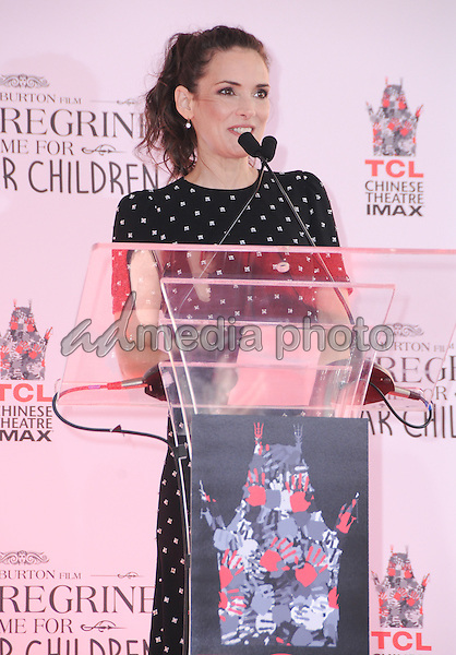 08 September 2016 - Hollywood, California. Winona Ryder. Tim Burton Hand And Footprint Ceremony held at TCL Chinese Theatre. Photo Credit: Birdie Thompson/AdMedia