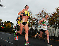26/10/2015; 2015 SSE Airtricity Dublin Marathon, St Laurence's Road, Dublin. <br /> Nataliya Lehonkova on her way to winning the Women's race.<br /> Picture credit: Tommy Grealy/actionshots.ie.