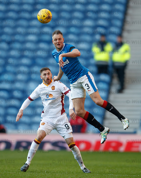 Clint Hill beats Louis Moult to the ball